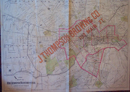 Map of Richmond, Manchester & Suburbs with ad of J