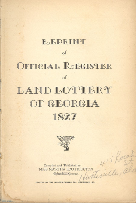 Reprint of Official Register of Land Lottery of Ge