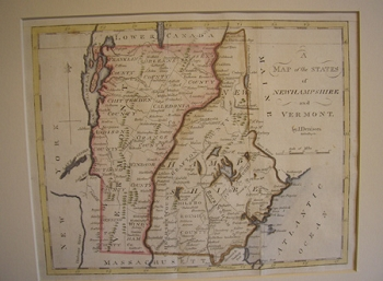 A Map of the States of New Hampshire and Vermont.