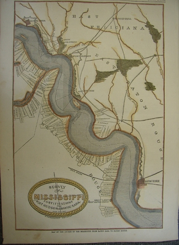 Map of the Course of the Mississippi from Bayou Sara to Baton Rouge.