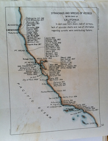 Strandings and Wrecks of Vessels on the Coast of California