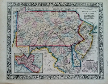 County Map of Pennsylvania, New Jersey, Maryland, and Delaware