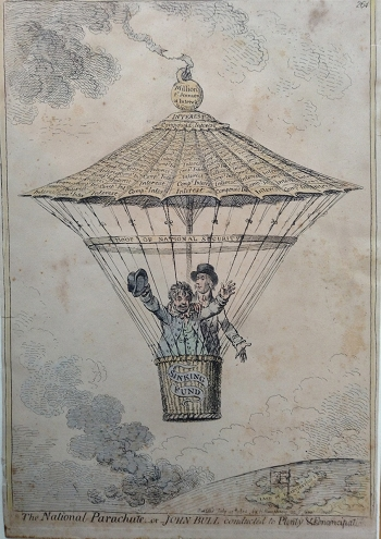 The National Parachute or John Bull conducted to Plenty & Emancipation